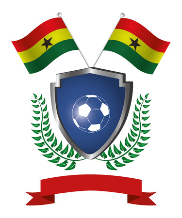 a shield with a soccer ball, a ribbon, a pair of flags and a laurel wreath Vector
