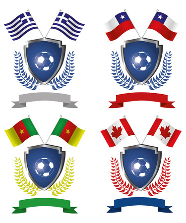 four shields with ribbons, laurel wreaths, soccer balls and different flags Vector