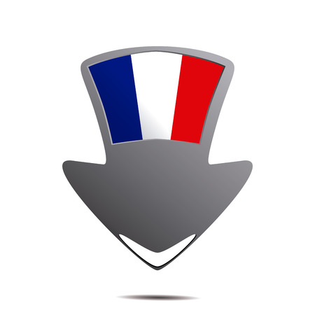 a pin with the french flag and its respective colors Vector
