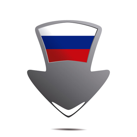 russian flag: a pin with the russian flag and its respective colors Illustration