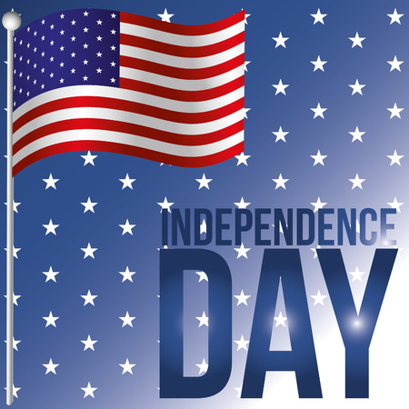 the american flag in a blue background with stars and text Vector