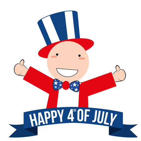 a happy boy with a ribbon for independence day Vector