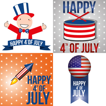 four different backgrounds with different elements for independence day Vector