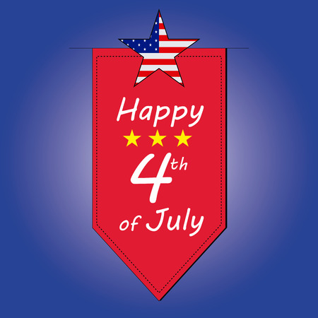 a red ornament with some text and stars for independence day Vector
