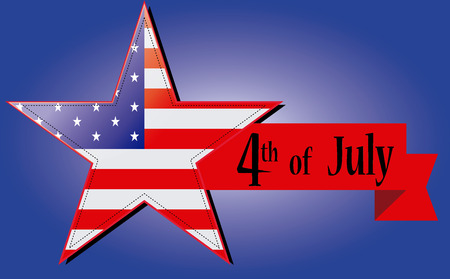 a star with the usa flag, a ribbon and a bordered line for independence day Vector