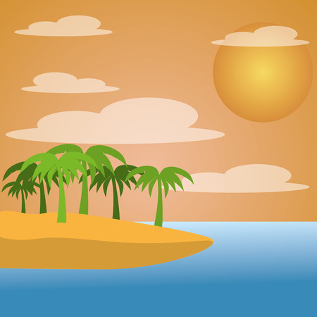 an isle with a lot of palm trees and a sun in the sky Illustration