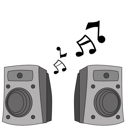 a pair of grey speakers with some black musical notes Illustration