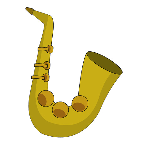 a yellow saxophone in a white background