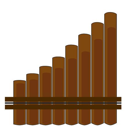 zampona: un instrumento musical de viento de madera en un fondo blanco Vectores