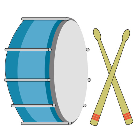 a blue drum with a pair of drumsticks in a white background