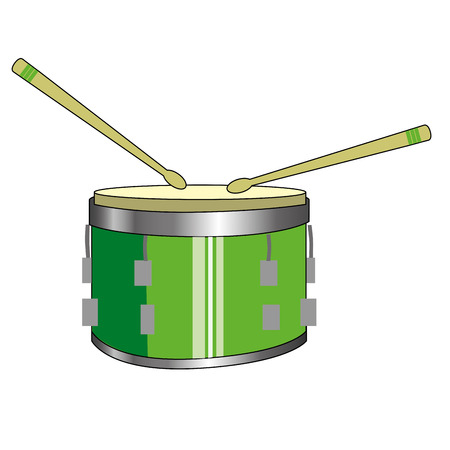 drumsticks: a green drum with a pair of drumsticks in white background