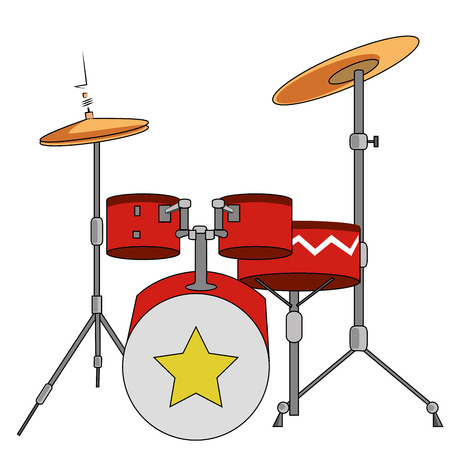 a colored drums with a star in a white background Illustration