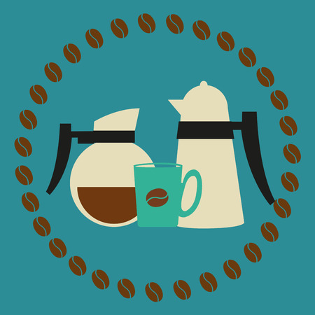coffeepots: a pair of coffeepots and a coffee mug within a lot of coffee beans