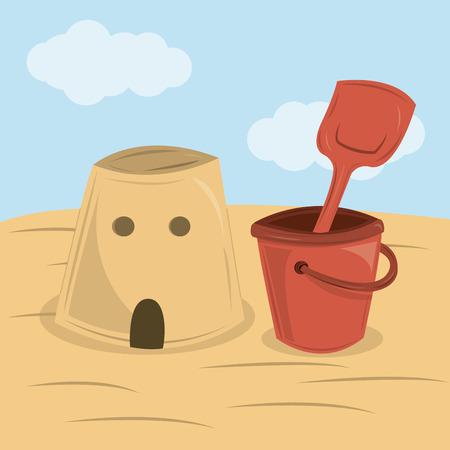 castle sand: un castillo de arena y una caja de arena en la playa