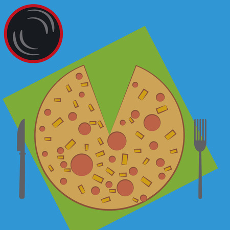 wares: a pizza with ingredients, some silver wares and a cold drink Illustration