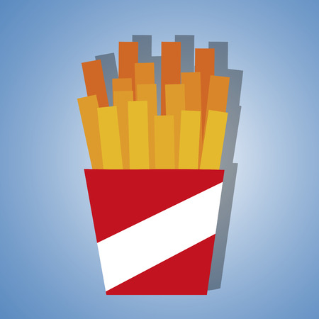portion: a portion of french fries in a blue background