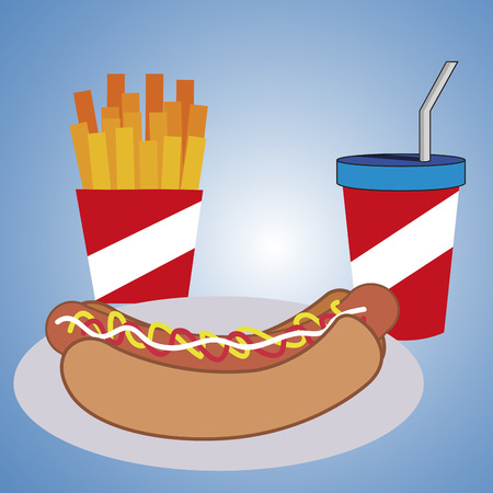 portion: a hot dog with a portion of french fries and a cold drink