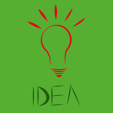 a red silhouette of a lightbulb in a green background