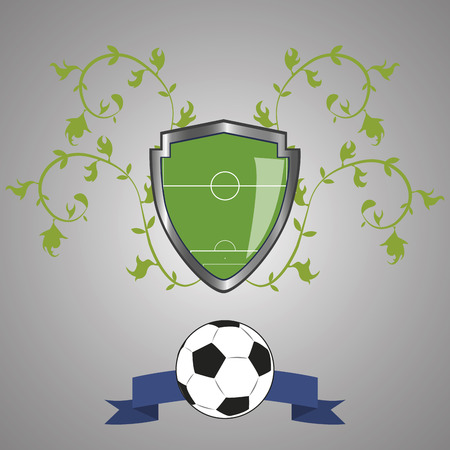 a heraldry shield with a soccer field within it, a ribbon and a soccer ball Vector