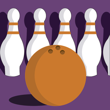 a lot of bowling related elements in a purple background Vector
