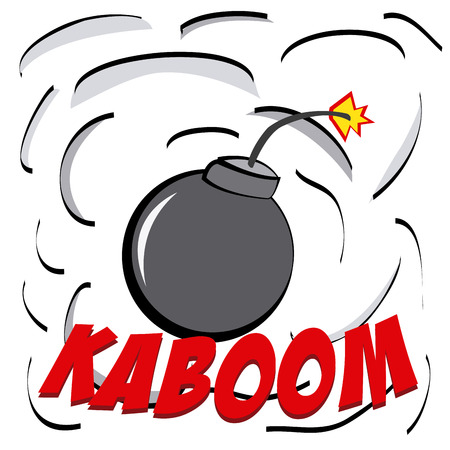 kaboom: an explosion comic expression with a bomb and smoke