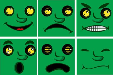 face expressions: un conjunto de seis expresiones faciales diferentes en las caras verdes