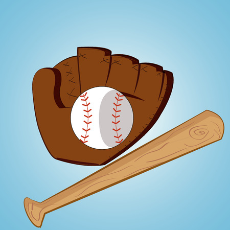 a baseball ball, baseball bat and a gauntlet on a blue background Vector