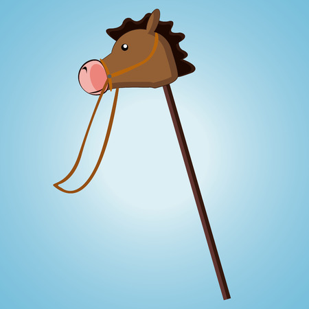 wooden stick: a wooden stick horse in a blue background