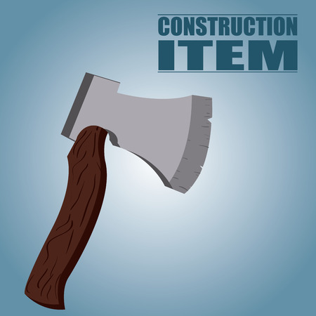 an isolated wooden axe on a blue background with text Vector
