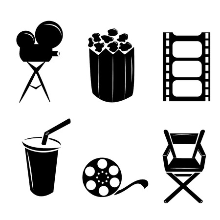 six objects: six black silhouettes of some cinema related objects Illustration