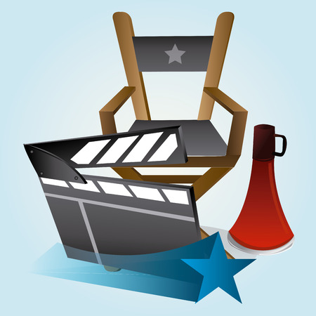 director chair: a director chair, a megaphone, a star and a clapperboard on a blue background