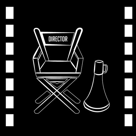 director chair: a sketch of a director chair and a megaphone on a black  tape