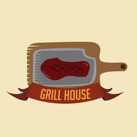 a grilled steak on a wooden dish and a ribbon with text Vector