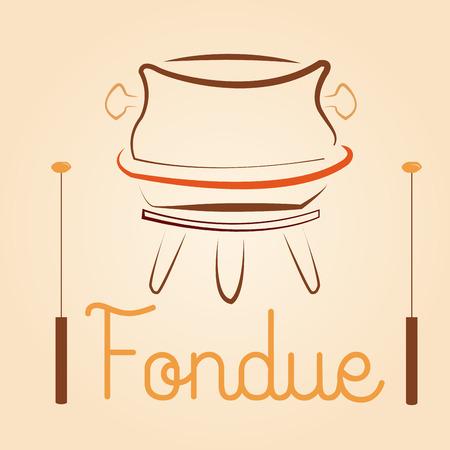 fondue: a fondue cauldron  with a pair of sticks for menu design Illustration