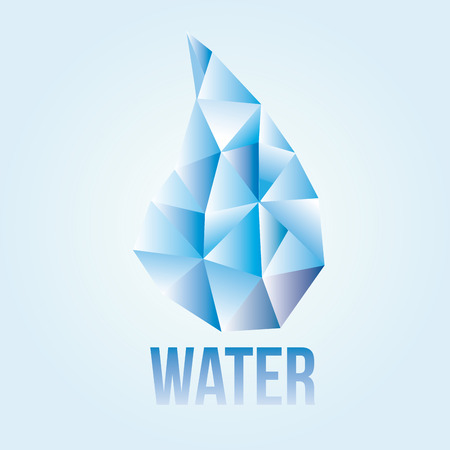 a single drop of water composed by triangles and text Vector