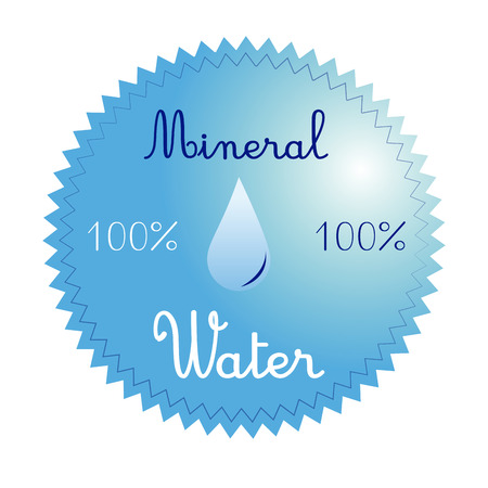 organic fluid: a blue icon with some text and a drop of water Illustration