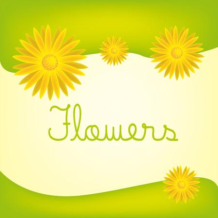 tarjeta amarilla: una tarjeta verde y amarillo con un poco de texto y las flores