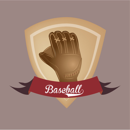 a baseball label with a ribbon with text and a baseball gauntlet Vector