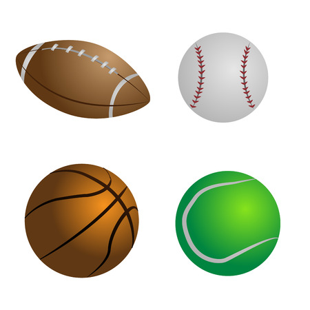 professional equipment: a set of four different sports ball on a white background