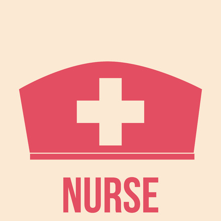 a pink nurse hat with a cross and text