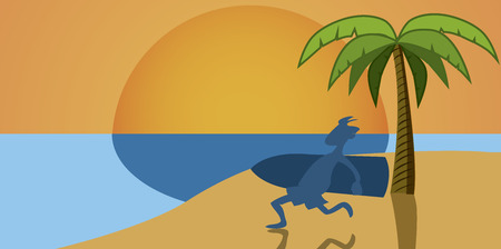 a blue silhouette of a man running with a surfboard on the beach Vector