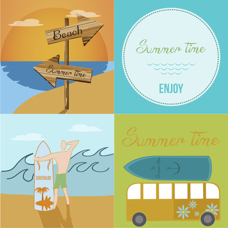 four different images with elements related to summer vacations Vector