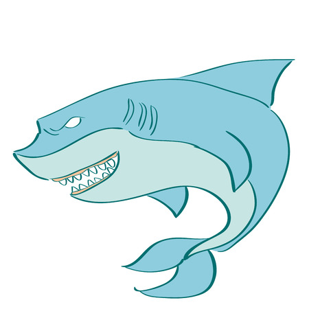 a blue shark on a white background Vector