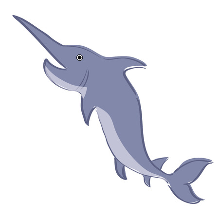a blue swordfish on a white background Vector