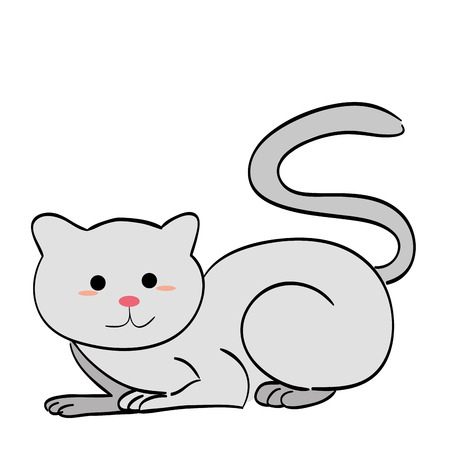 grey cat: a happy grey cat on a white background Illustration