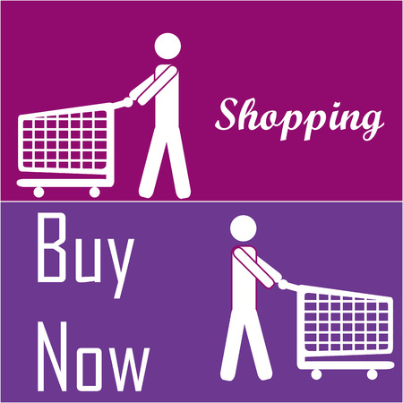 a pair of colored banners with text, a silhouette of a person and a shopping cart Vector