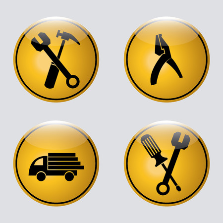 a set of yellow signals with black construction icons Vector