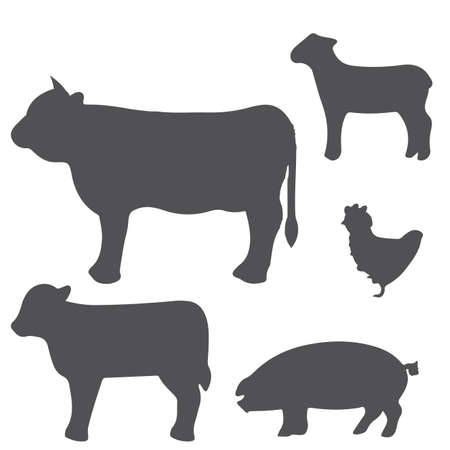 a set of grey silhouettes of some farm animals Vector