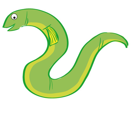 eel: a green eel on a white background Illustration
