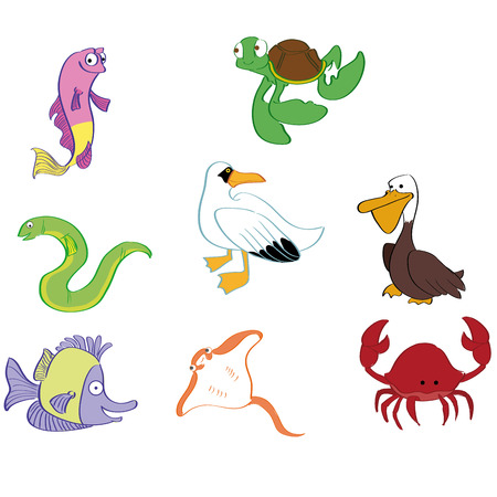 a set of different sea animals on a white background Vector